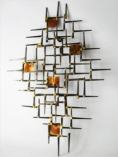 1970u0027s NAILS METAL ABSTRACT WALL ART SCULPTURE MID CENTURY MODERN JERE  EAMES ERA