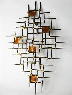 1970's NAILS METAL ABSTRACT WALL ART SCULPTURE MID-CENTURY MODERN JERE EAMES ERA