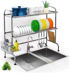 Shop for Over Sink Dish Drying Rack, iBesi Stainless Steel Stable Dish Drainer Shelf Rust Free Multifunctional Storage Organizer With Utensils Holder Kitchen Sink Countertop (Sink online - Totoppremium Kitchen Sink Countertop, Countertops, Kitchen Dining, Kitchen Dish Drainers, Sink Shelf, Kitchen Utensil Holder, Stainless Steel Kitchen, Best Dishes