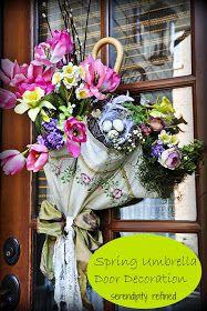 DIY: How to Make a Spring Umbrella Door Decoration - using an old umbrella, silk flowers and lace - via Serendipity Refined Umbrella Wreath, Umbrella Decorations, Umbrella Crafts, Deco Nature, Spring Door, April Showers, Front Door Decor, Summer Wreath, Porch Decorating