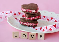 Chocolate sandwich cookies with cherry filling