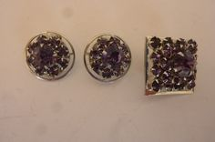 Vintage WEISS Demi Parure Pin/Brooch and Clip On Earrings Amethyst Crystal 1950's by ZoomVintage on Etsy