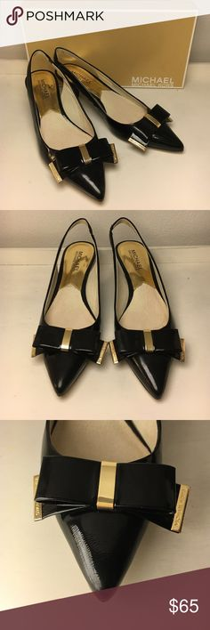 """MICHAEL Michael Kors Delphine slingback Black patent leather 1 1/2"""" kitten heels. Pointed toe with bows and gold MK detail. Worn once for NYE a couple years ago, didn't even leave our apartment so they're practically brand new! Comes with box. MICHAEL Michael Kors Shoes Heels"""
