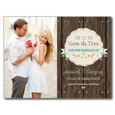 MINT GREEN RUSTIC FLORAL BOHO WEDDING ROMANTIC PRETTY CUSTOM PHOTO PORTRAIT PICTURE SAVE THE DATE POSTCARD
