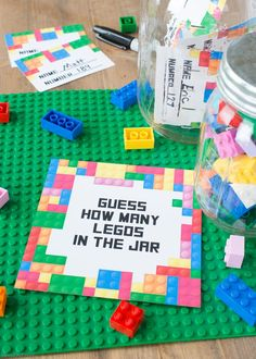 Hosting a Lego birthday party? Grab this Free Printable Lego Party Game that is fun for all ages. Lego Party Decorations, Lego Party Games, Lego Party Favors, Lego Themed Party, Party Gift Bags, Kids Party Themes, Birthday Party Invitations, Game Party, Party Ideas