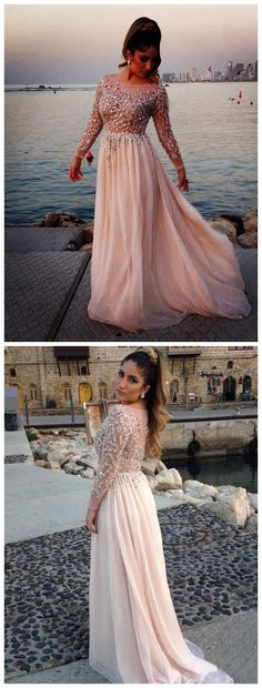 ombre prom dresses,Ivory A-line Bateau Long Sleeve Chiffon Prom Dresses Evening Dresses 1210