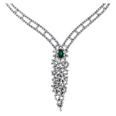 Emerald and Diamond White Gold Necklace