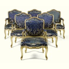 """""""CHATSWORTH: THE ATTIC SALE."""" A SET OF SIX CARVED GILTWOOD FAUTEUILS LOUIS XV, MID 18TH CENTURY. Sotheby's"""