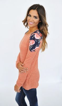Rust/Navy Floral Long Sleeve Top - Dottie Couture Boutique