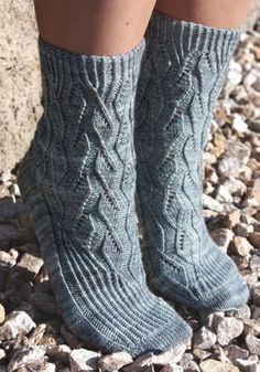 Ice Blink Socks by Cynthia Levy in Ancient Arts Fibre Crafts 3 Ply Fingering/Sock