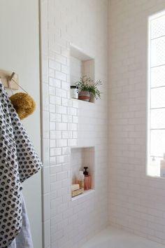 Simple White subway tile bathroom // Jillian Harris New House Inspiration love the niches White Subway Tile Bathroom, White Tiles, Gold Bathroom, Metro Tiles Bathroom, White Tile Bathrooms, Subway Tile Showers, Tiled Showers, Parisian Bathroom, Turquoise Bathroom