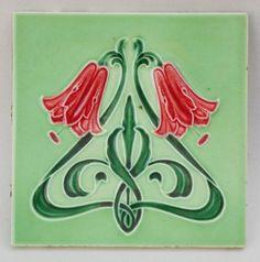 Antique Art Nouveau Ceramic Tile - Minton Hollins