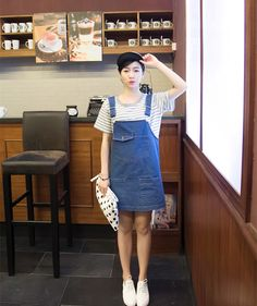 0dcb457bc68ae Free Shipping Korea Jeans Suspender Skirt Plus Size