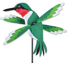 "16"" Hummingbird Whirligig from the Whirligig Spinners Collection by Premier. These lightweight Overall size is approximately 8.75"" W x 16"" H with 19"" spinners. Comes with a 7"" ground stake. @justforfunflags **Free Priority Mail shipping to anywhere in the USA.**"