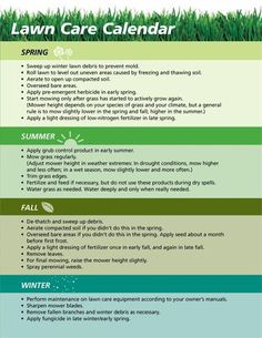 Lawn care calendar for the home for Lawn maintenance schedule