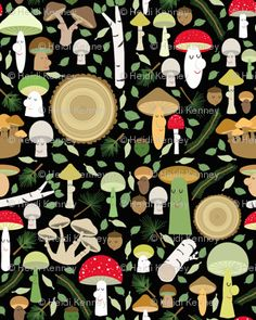 """""""a walk in the forest"""" fabric by Heidi Kenney"""