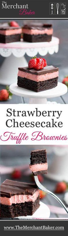 Strawberry Cheesecake Truffle Brownies