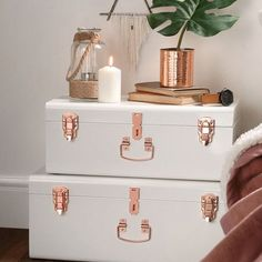 HOME-DZINE | Transform boring to beautiful with a can of Rust-Oleum Metallics spray paint in copper. Simply remove hardware, spray, and re-attach... as easy as that!