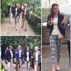 The Duke and Duchess have delayed their plans to fly to the Scilles due to poor weather conditions, however they are currently visiting the Eden Project in Cornwall. Kate is in her navy Smythe blazer, Monsoon wedges and new Gap trousers.