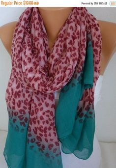 Leopard Print Cotton Scarf  Spring Summer ScarfAnimal by fatwoman