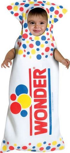Wonder Bread Baby Bunting Costume : An American classic. The cutest little loaf of bread you will ever see. One size baby bunting. Food Halloween Costumes, Food Costumes, Cute Costumes, Baby Costumes, Cute Halloween, Costume Ideas, Toddler Halloween, Halloween Stuff, Halloween Express