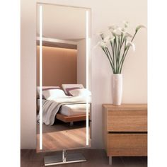 This beautiful Dressing mirror is the perfect addition to a room shared by roommates or sisters. Each side of this mirror has a full sized mirror and the mirror can rotate as far as 30 degrees. Mirror With Led Lights, Mirrors, Dressing Room Mirror, Dressing Room Design, Dressing Rooms, Electric Mirror, E Room, Changing Room