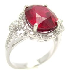 Oval Cut Ruby & Diamonds Engagement Ring RU2000