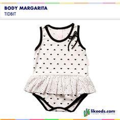 Body Margarita de Tidbit. Este modelo es de algodón de color blanco con un estampado de corazones. Para conocer talles, colores y comprar ¡Hacé click en la imagen!