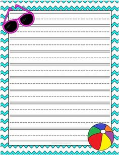 Cute Summer themed lined writing paper! Perfect for end of the year writing! $