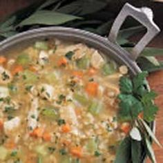 """Chicken Barley Soup  Great recipe! I used to get the campbell's brand growing up, but now that they do not make it anymore, I have perfected my own recipe. Everyone loves it. This is the good """"jumping off"""" recipe, then add your own flavor"""