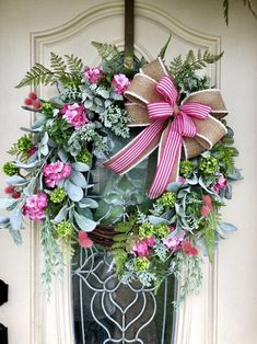 Everyday wreath spring wreath Grapevine wreath all season wreath wreath for front door farmhousr decor summer wreath pink wreath Spring Door Wreaths, Easter Wreaths, Summer Wreath, Wreaths For Front Door, Holiday Wreaths, Holiday Decorations, Front Porch, Greenery Wreath, Grapevine Wreath