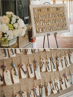 Keys to your seat. It is a lovely alternative to a table plan. Rustic and vintage wedding decor.