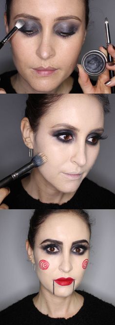In this step-by-step makeup tutorial of a simple but oh-so effective Halloween look, Cosmo's Online Beauty Editor Bridget shows you (with the help of magic makeup artist Harriet of Harry Makes It Up) how to recreate this look inspired by the character in movie Saw. It's not as scary though - promise!