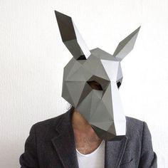 Make your own Donkey Mask, Animal Head,Instant Pdf download, DIY Halloween Paper Mask, Printable Templates, 3D Pattern, Polygon Masks