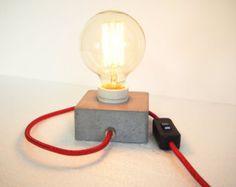 Lámpara con cobre de hormigón un Cable textil por TWOBOLD en Etsy