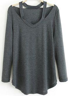 T-Shirt lâche épaule dénudée -gris  13.10