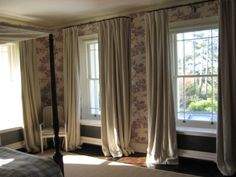 I love these french style poles, with heavy linen curtain curtains! Decor, Curtains, Home, Linen Curtains, Linen, Lounge, Home Decor