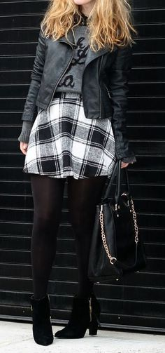 Tartan Twill Mini A-line Skirt
