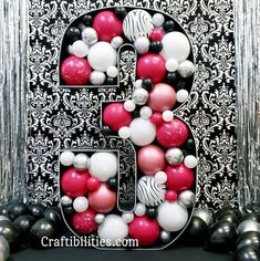 DIY large balloon number mosaic 3 - Hot pink, black & white, and zebra print theme - 3rd birthday large party decoration/backdrop