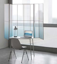 Work at home with fewer distractions behind the misty screen of this desk by Design Academy Eindhoven graduate Thijmen van der Steen.