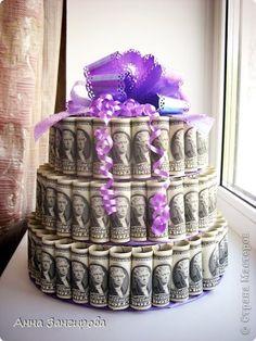 Поделка изделие Свадьба Моделирование конструирование Денежный торт фото 1