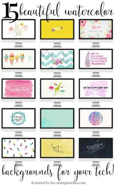 "Beautiful watercolor backgrounds for your tech | TPK ""You are My Sunshine"" background included."