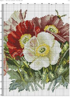 Hand Embroidery Patterns Free, Hand Embroidery Stitches, Cross Stitch Embroidery, Counted Cross Stitch Patterns, Cross Stitch Charts, Cross Stitch Designs, Rosa Shabby Chic, Cross Stitch Flowers, Cross Stitching
