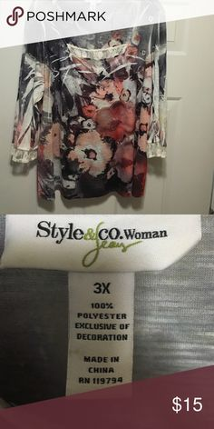 Watercolor style pattern Top PLUS SIZE with some stud bling. Stretchy a bit of lace to seal the feminine side. Style & Co Tops Tunics