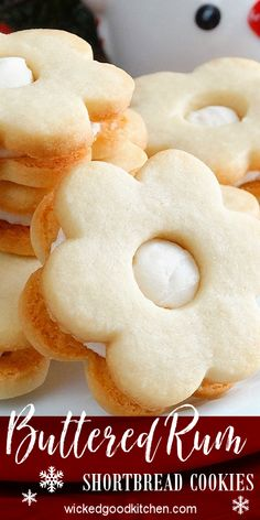 Buttered Rum Shortbread Cookies ~ Melt-in-your-mouth and simply divine! Buttery, flavorful and fragrant, these rum butter cookies are the embodiment of a truly melt-in-your-mouth, delicate and light yet crisp buttery shortbread cookie. Sandwiched with a dreamy, soft and creamy rum buttercream filling for the ultimate taste sensation. Irresistible! | #classic #Christmas #holiday #cookie #recipe #WickedGoodKitchen