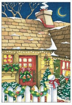 """This cozy Mary Engelbreit illustration, featuring a little cottage all decorated for the holidays, is sure to invoke memories of happy Christmas Eves spent by the fireside."""