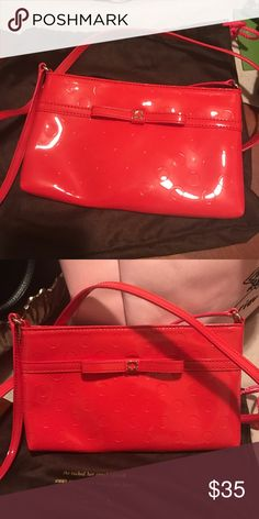 Kate Spade Patent Cross Body in Chili Red Kate Spade Patent Cross Body in Chili Red with great wallet style pockets on the inside! Worn once and comes in a duster bag! kate spade Bags Crossbody Bags