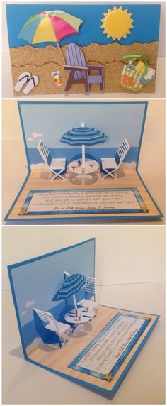 Summer, Ocean, Beach pop up card. Sandpaper was used as sand for the front.
