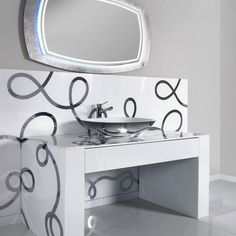 Decorative bathroom washstand, counter top and splashback for a unique luxury look.