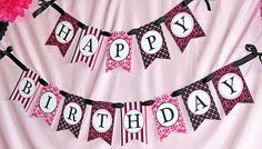 pink and black birthday printables free | pink-black-white-banner